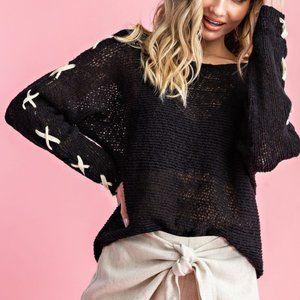 Sweaters - Black Cross Sleeve Lightweight Sweater
